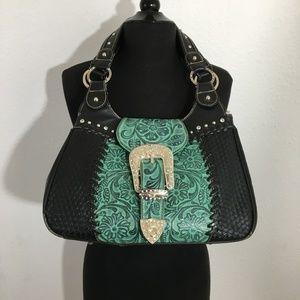 Montana West Trinity Ranch Black Teal Handbag